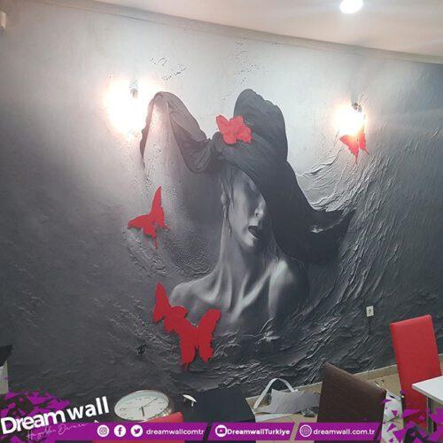 Şapkalı Kadın Desenli Duvar Kumaşı photo review