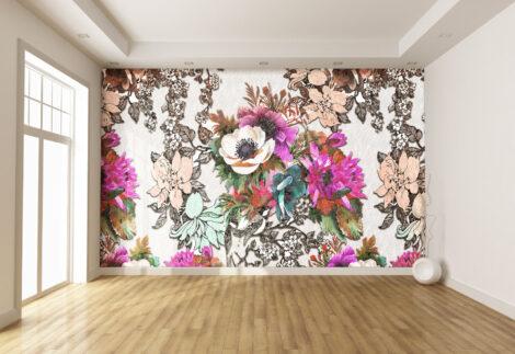 Açelya Çiçeği Desen Temalı Duvar Kumaşı