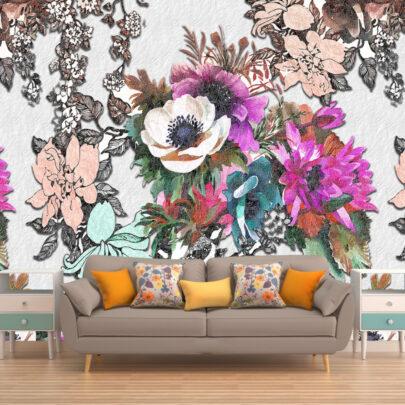 Açelya Çiçeği Desenli Duvar Kumaşı