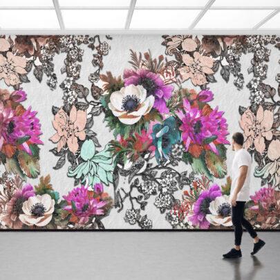 Açelya Çiçeği Temalı Duvar Kumaşı